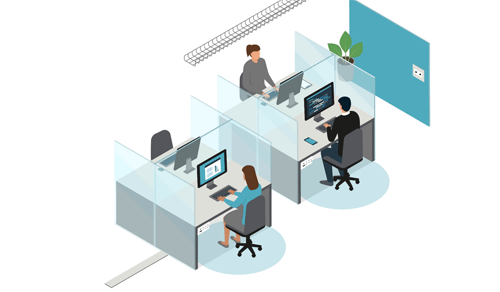 An example of an office layout for workstations, showing partitions and a new arrangement for desks.